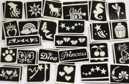 GLITTER TATTOO 50 GIRLS STENCILS MERMAID UNICORN PRINCESS WAND HEART STAR FLOWER